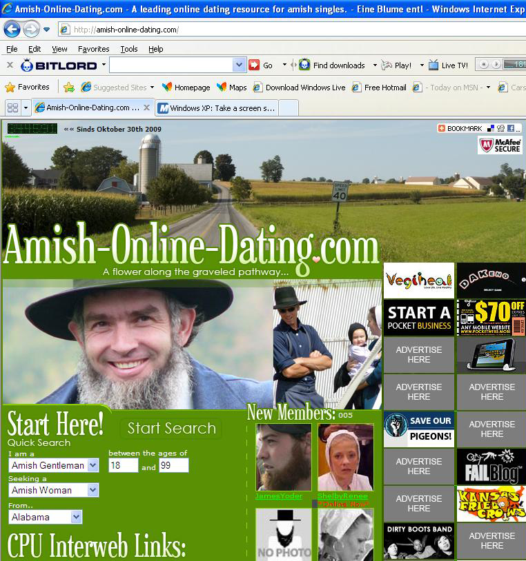 Amish singles dating site